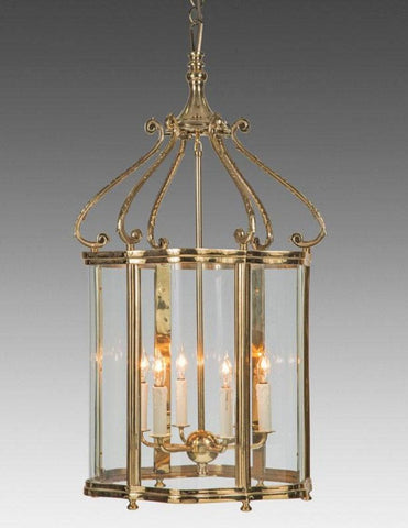 Cast Brass with Serpentine Glass Queen Anne Style Lantern LL-96