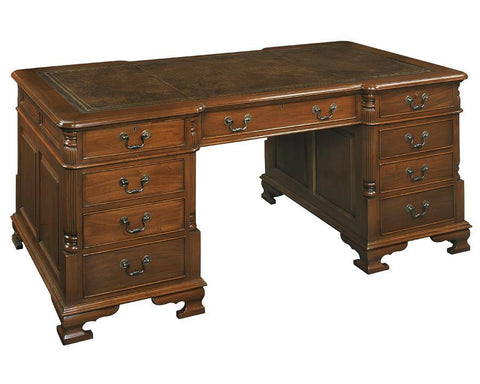 Desk With Gold Tooled Leather Top And Carved Reeded Corner Posts FDS-19a