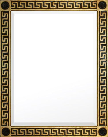 antique beveled mirror with greek key design