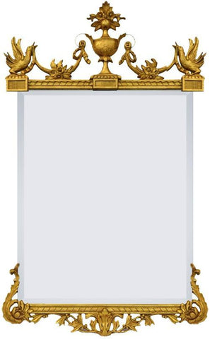 Chippendale Style Beveled Mirror With Urn Crest and Bird Motif MF-42