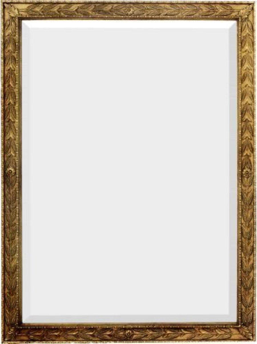 Rectangular Beveled Mirror With Flower And Leaf Decoration