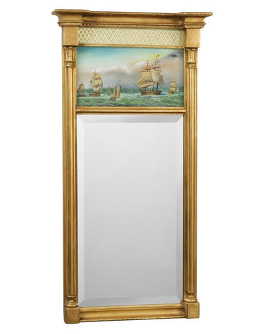 antique gold rectangular mirror with harbor painting