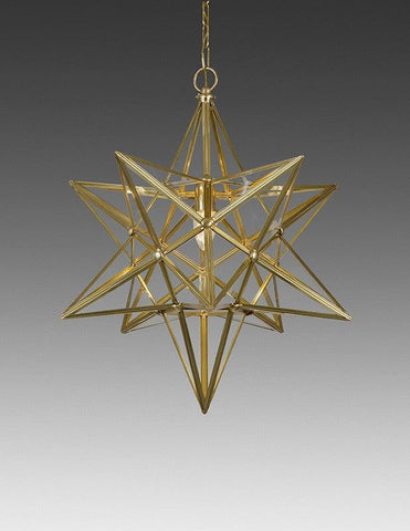 Brass And Glass Star Design Lantern LL-88