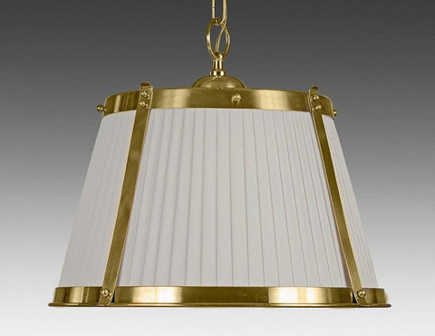 Brass And Fabric Shade Three Light Chandelier LCFI-67a