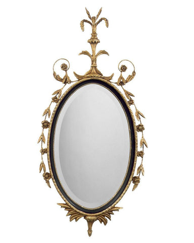 antique adam style oval beveled mirror