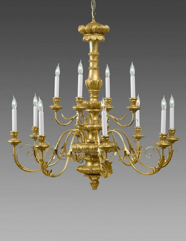 Metal And Wood Federal Style Twelve Light Chandelier LCFI-83