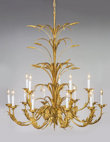 Metal Wheat And Leaf Design Two Tier Fifteen Light Chandelier LCFI-82
