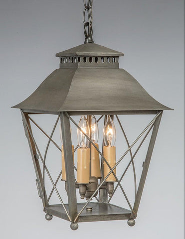 Criss Cross With Ball Feet Design Hanging Lantern in Custom Pewter Finish LEH-150