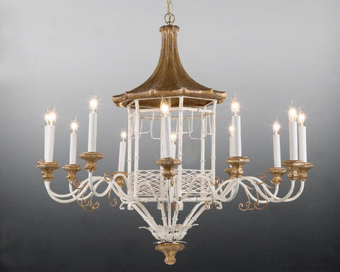 Metal and wood pagoda design chandelier LCFI-23