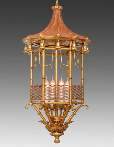 Metal And Wood Pagoda Design Lantern With Distressed Accents LL-99B