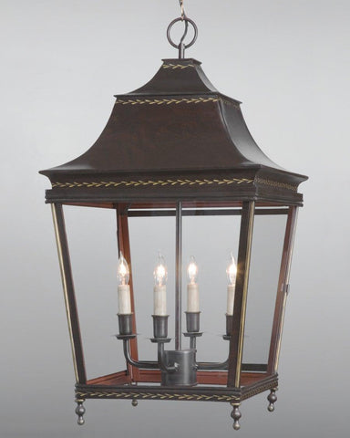 Tole And Glass Pagoda Style Lantern LL-29