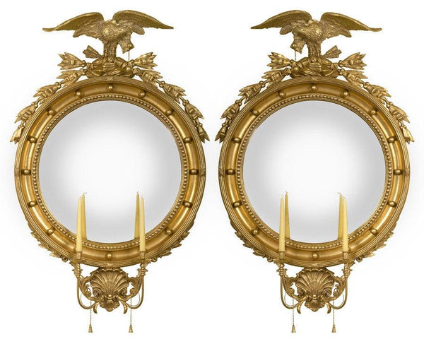 Girandole Convex Mirrors With Candle Holders Federalist