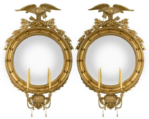 Girandole Convex Mirrors With Eagles And Candle Holders With Tassels MC-4