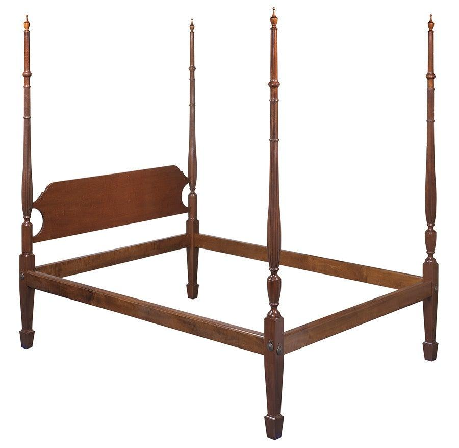 Hepplewhite Style Tall Post Bed With Salem Headboard And Optional Spade  Feet FBBE-17