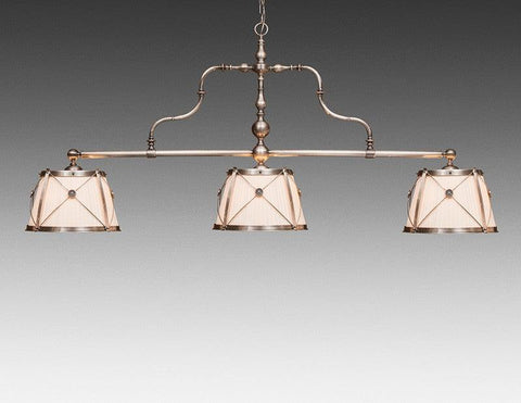Brass And Fabric Three Shade Chandelier LCFI-74B