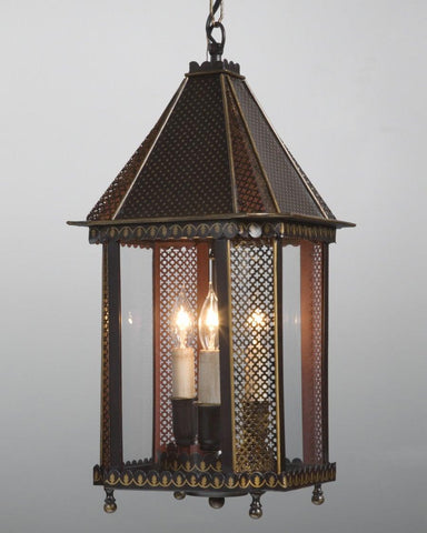Tole And Glass Pierced Design Lantern LL-31