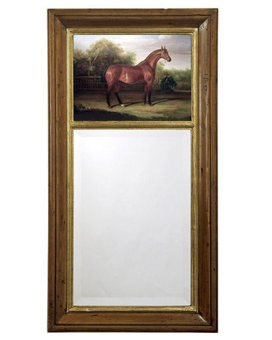 antique federal mirror with equestrian painting