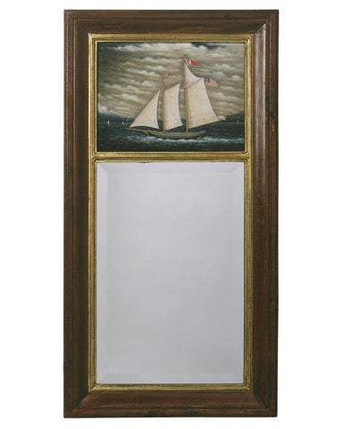 antique federal mirror with ship painting