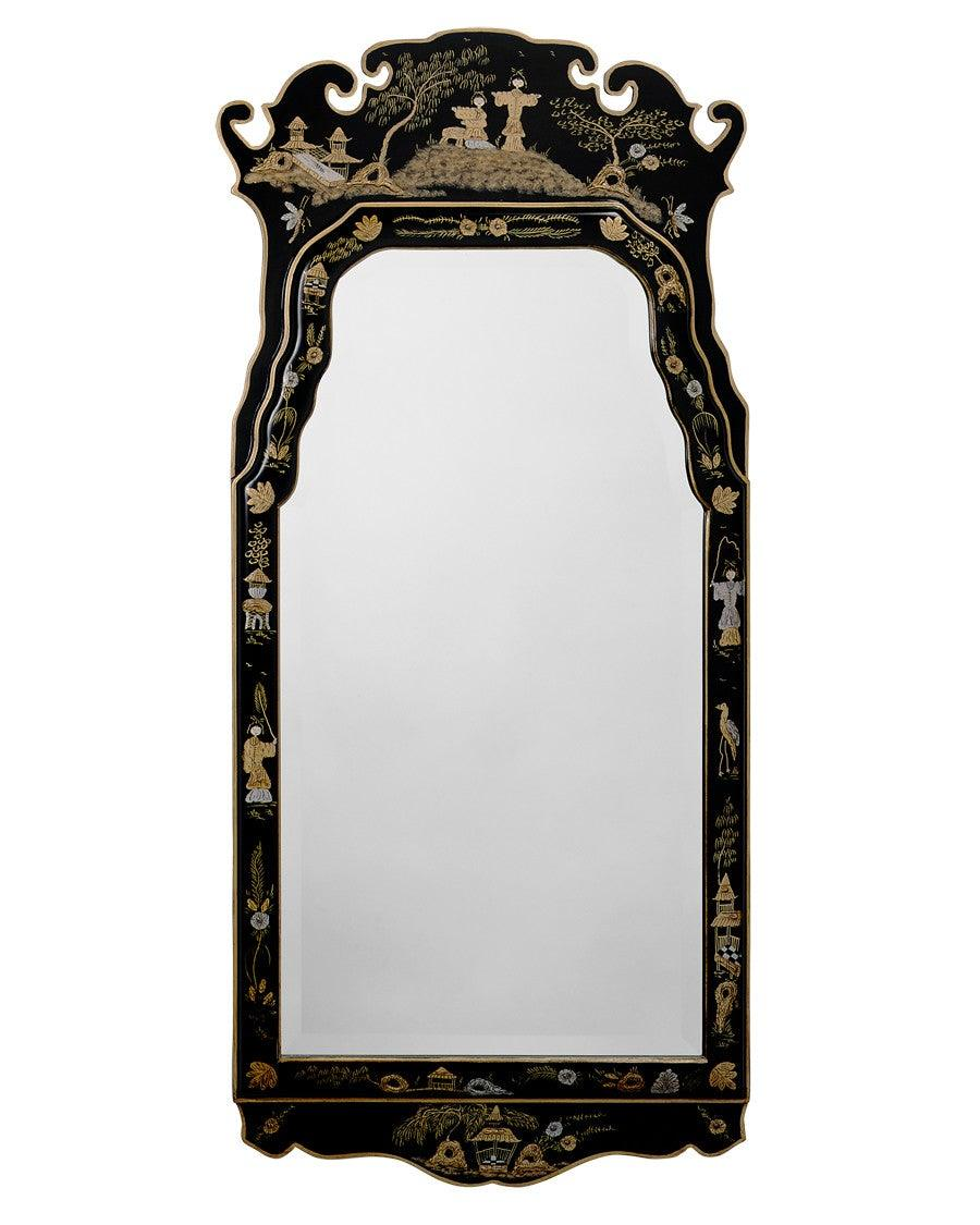 Queen Anne Style Chinoisere Design Beveled Mirror Mf 18 Federalist