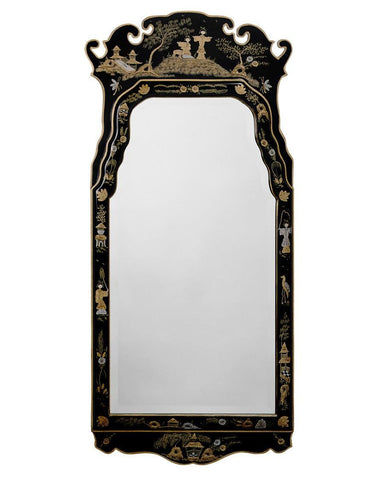 queen and anne antique beveled mirror