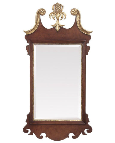 Chippendale Style Beveled Mirror With Pine Cone Pediment MF-21