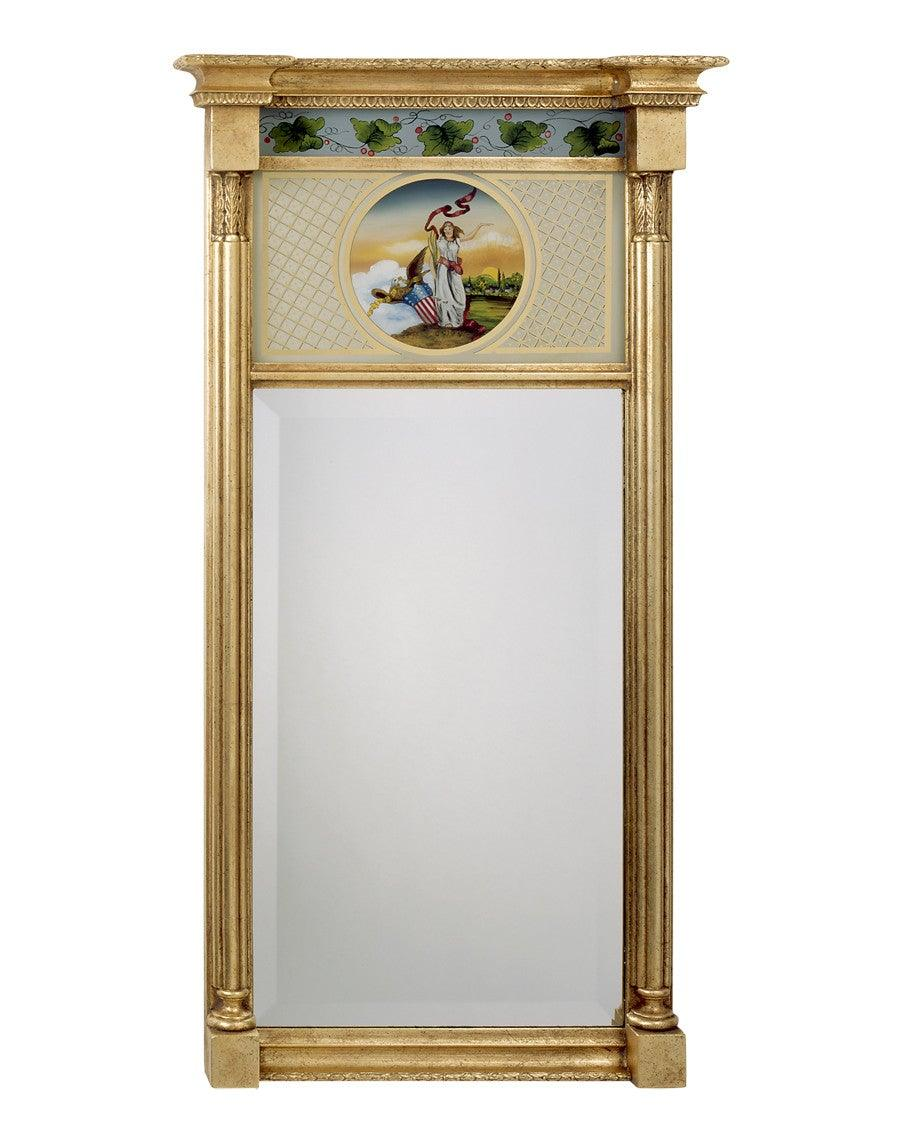 pier style beveled mirror with lady liberty painting mf13