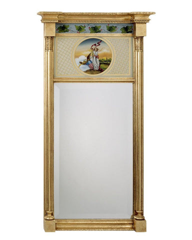 antique gold rectangular mirror with liberty painting