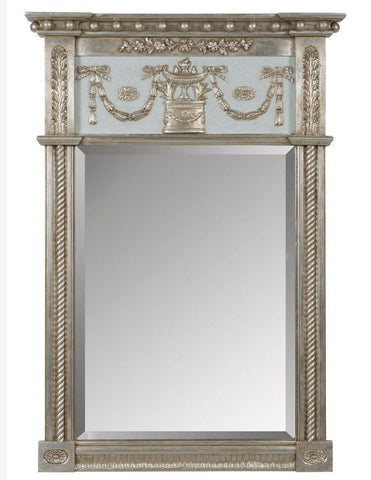 antique beveled mirror with custom blue crackle