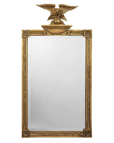 Rectangle antique beveled mirror with eagle