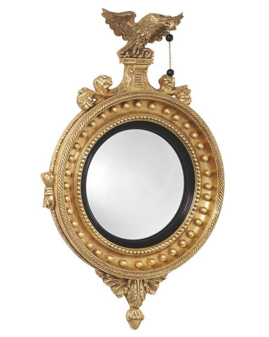 Girandole Convex Mirror With Eagle And Pineapple Finial MC-1A