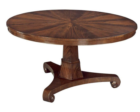 Federal style single pedestal round dining table with apron with bead FDTF-25