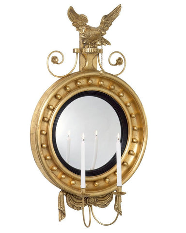 Girandole Convex Mirror With Eagle And Candle Holders MC-2
