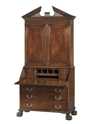Desk And Bookcase With Carved Trellis Broken Pediment Top FDS-2b