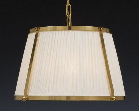 Brass and fabric shade four light chandelier LCFI-22