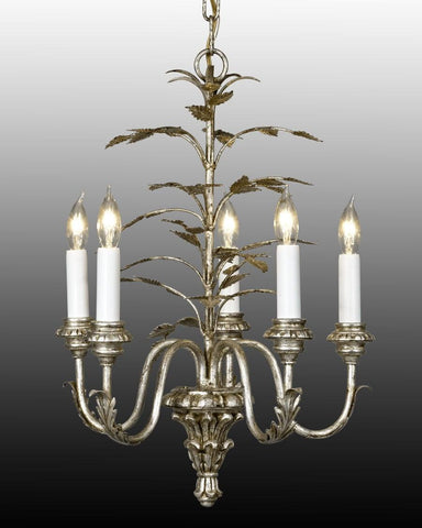 Metal and wood leaf design five light chandelier LCFI-31b
