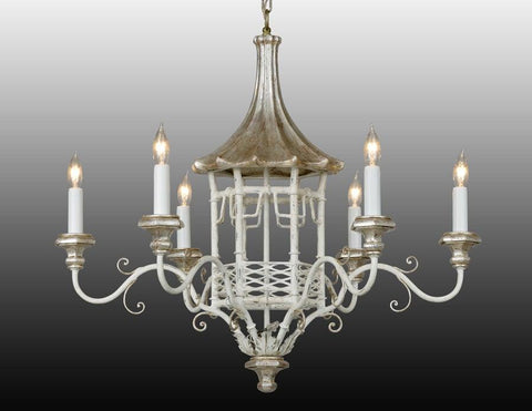 Metal and wood pagoda design chandelier LCFI-24b