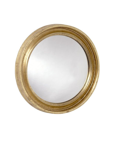 gold federal convex mirror with interior beaded frame