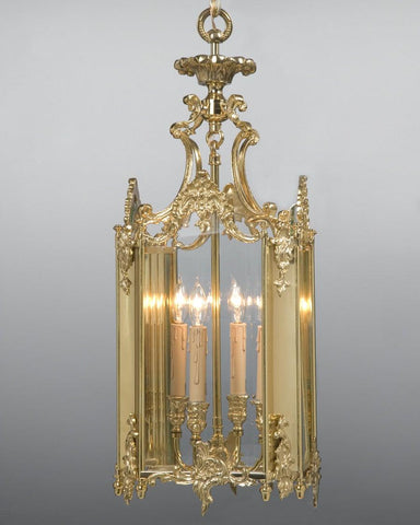Cast Brass And Glass Rococo Style Lantern LL-15