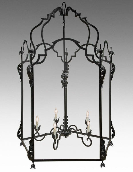 Metal And Glass With Leaf Design Oversized Lantern Ll 100