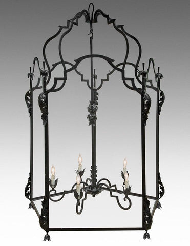 Metal And Glass With Leaf Design Oversized Lantern LL-100