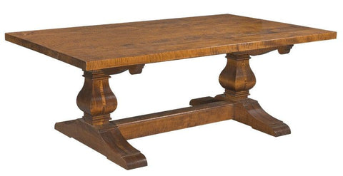Farmhouse Style Trestle table with optional hand planed and distressed top FDTHSC-2a