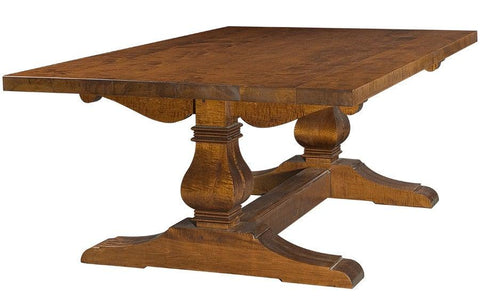 Trestle table with optional hand planed and distressed top FDTHSC-2b