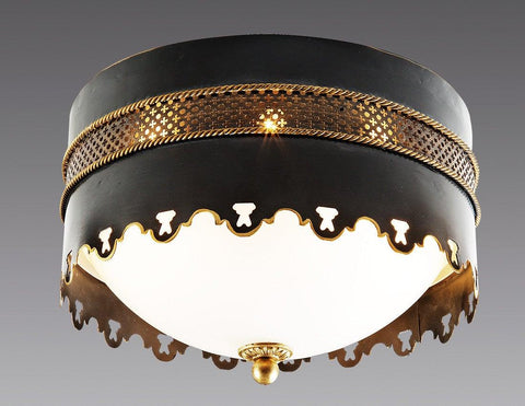 Tole With Pierced Band And  Braided Top And Bottom Ceiling Mount Lantern LCM-28