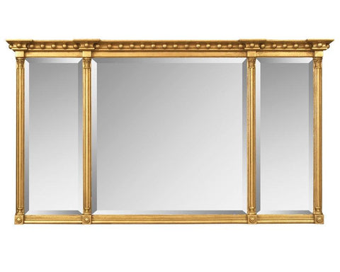 Three Section Beveled Mirror With Reeded Columns MF-4
