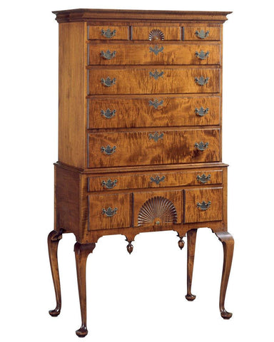Queen Anne Style Flat Top Highboy FCCH-6a