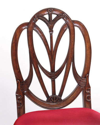 Detail of Federal style with carved draped arm chair and side chair FSFI-3b