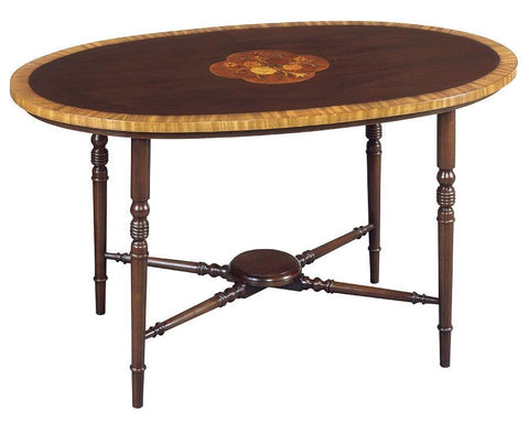 Coffee table with satinwood band and floral inlay FOCTT-4