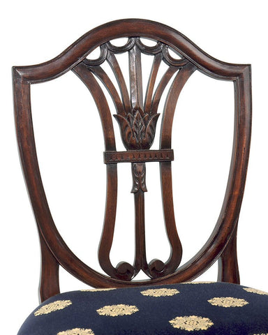 Detail of Hepplewhite style shield back with carved tulip design arm chair and side chair FSFI-1b