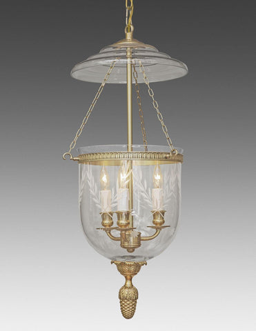 Bell Jar Lantern With Etched Leaves And Stars LL-101A