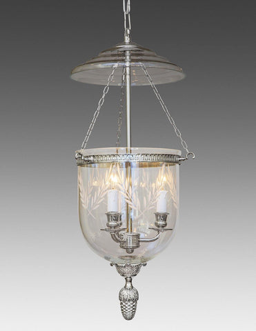 Bell Jar Lantern With Etched Leaves And Stars LL-101B